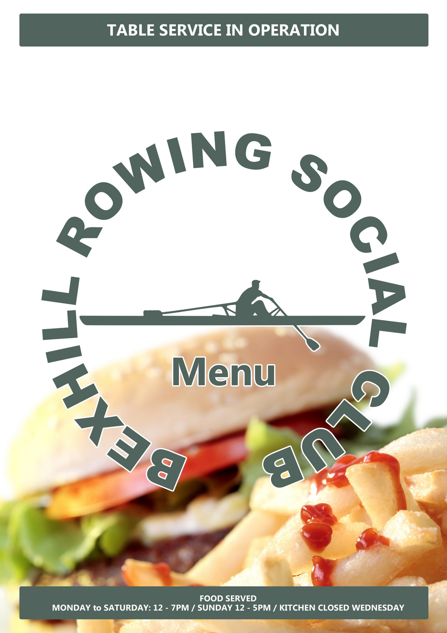 Bexhill Rowing Social Club Menu